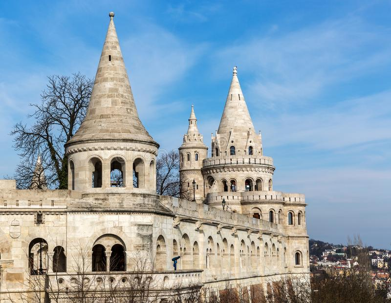 Fishermans Bastion, Buda castle in Budapest. Hungary stock photography