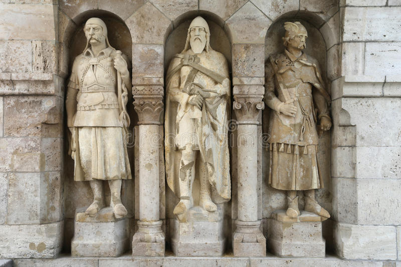 Fishermans Bastion Warriors Statues royalty free stock image