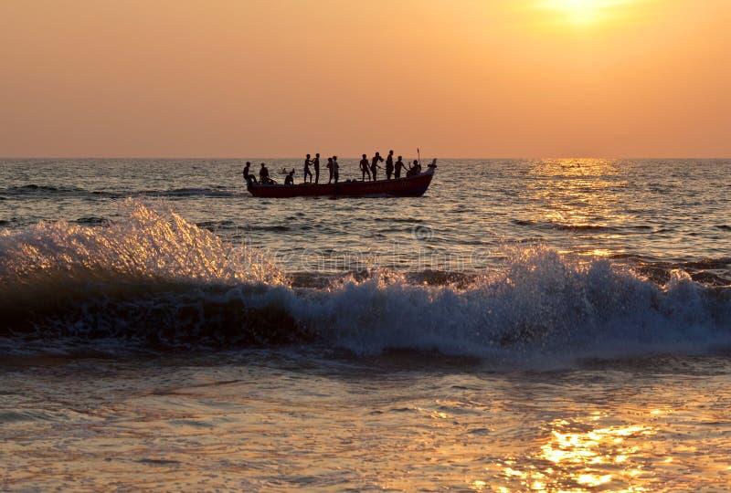 Fishermans con le reti immagini stock