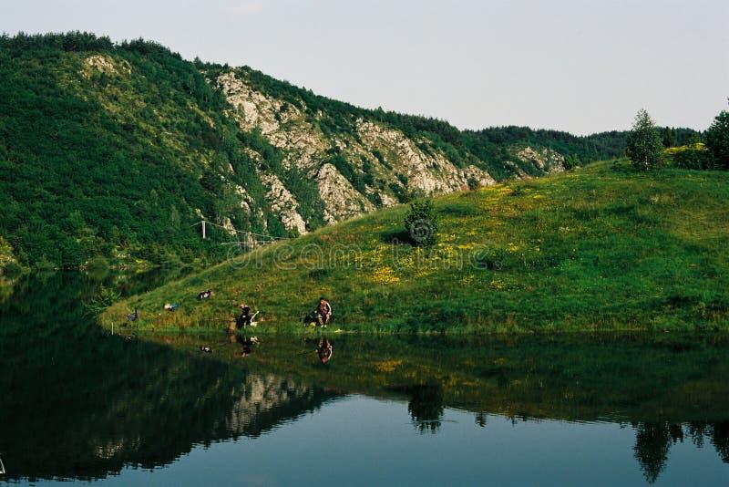 Fishermans sul lago Uvac, Serbia fotografia stock