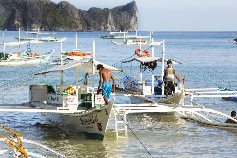 Fishermans village. El NIDO, PHILIPPINES - FEB. 16: Morning in the harbor fishing village of El Nido FEB. 16, 2016 in El Nido Philippines stock image