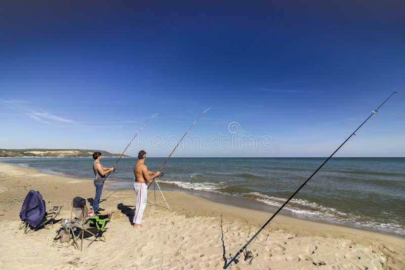 Fishermen on the Black Sea coast royalty free stock photos