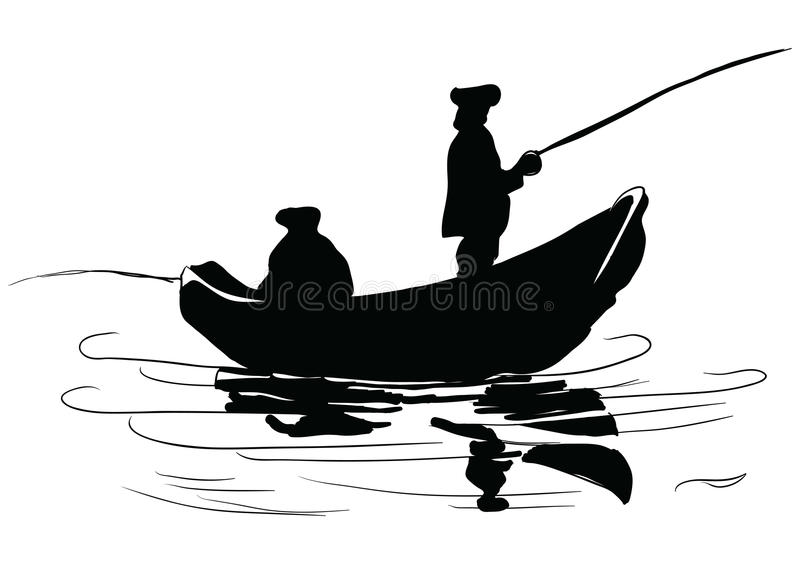 Download Fishermen in a boat stock vector. Image of human, tranquil - 30237545
