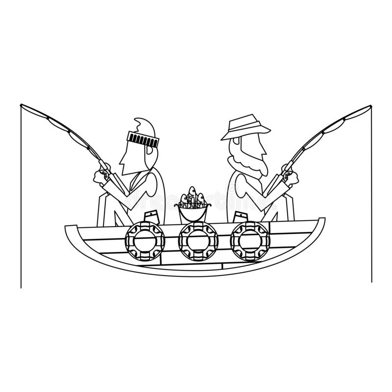 Fishermen In Boat In Black And White Stock Vector Illustration Of Male Person 133727822
