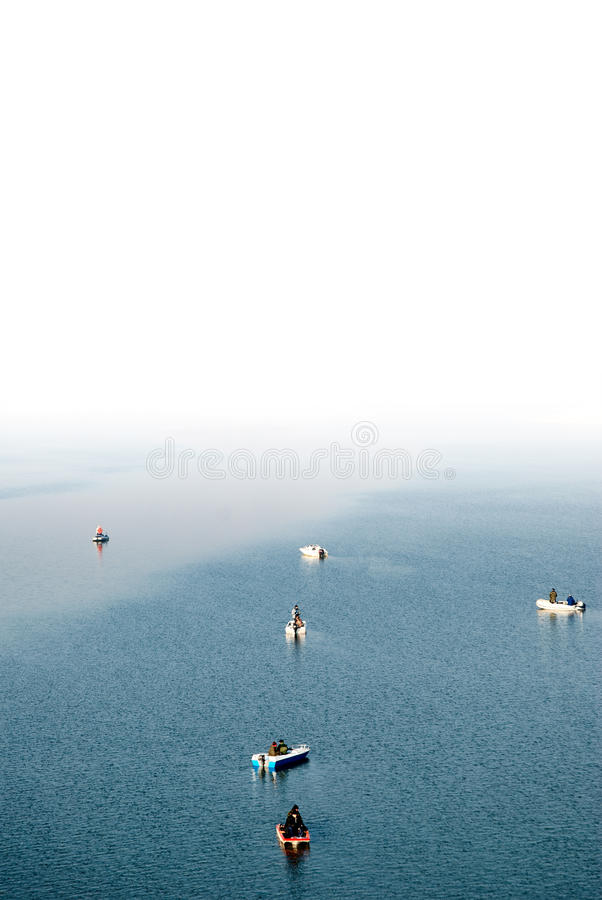 Fishermen In Boats Stock Photography