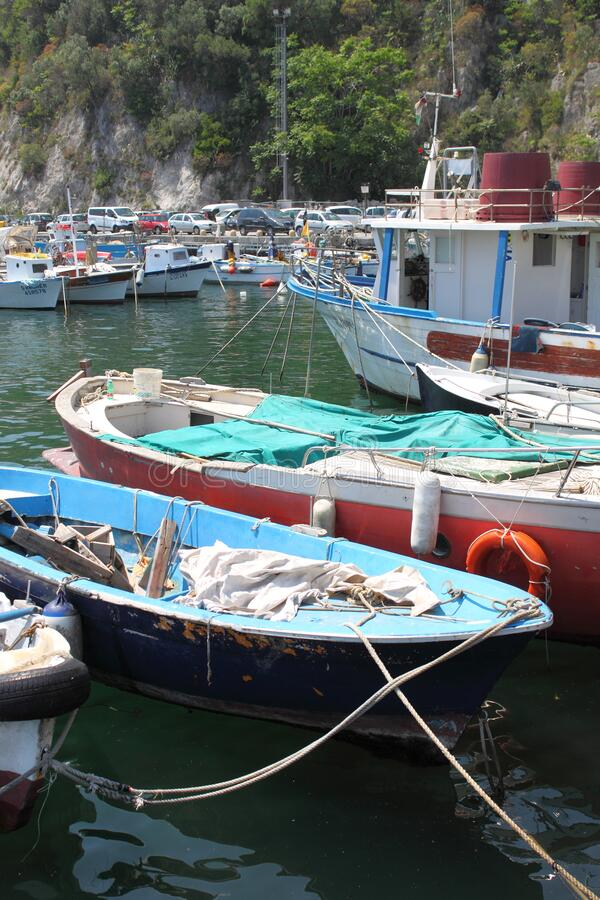 Fishermen boats in the harbour of Cetara royalty free stock photos