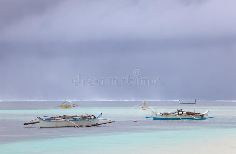 Fishermen Boats In Tropical Storm Royalty Free Stock Images