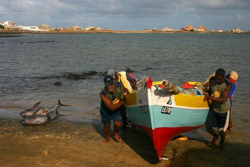 Fishermen in Cape verde stock photography