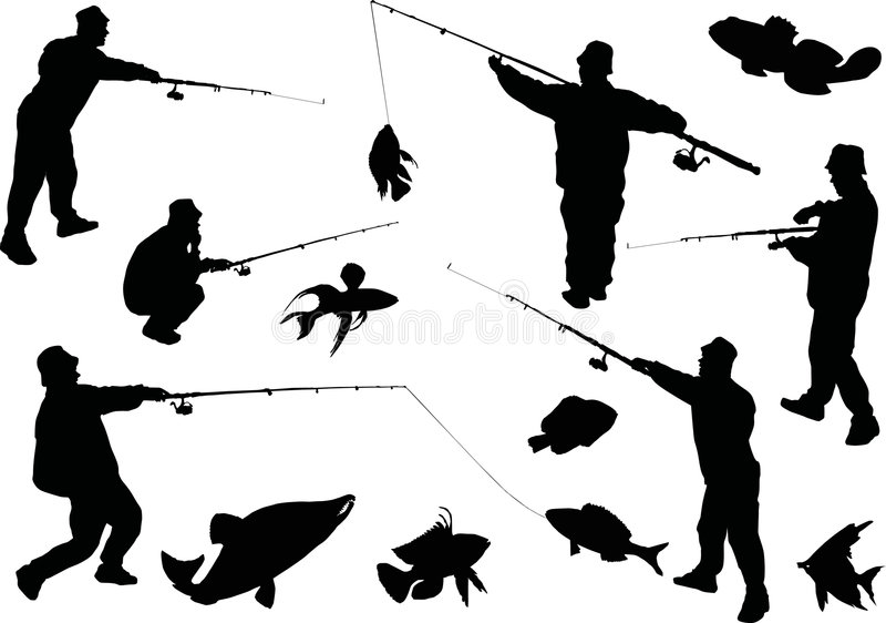 Fishermen and fishes collection vector illustration