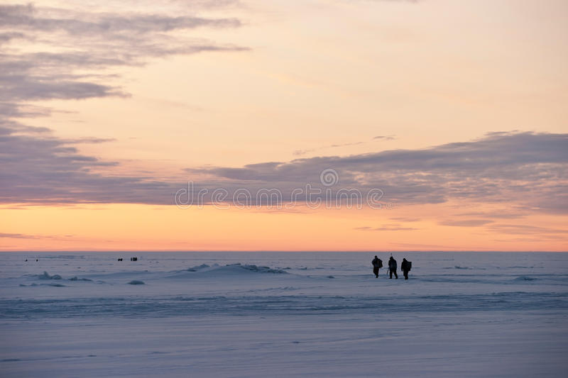 Download Fishermen On A Frozen Lake Stock Images - Image: 27628824