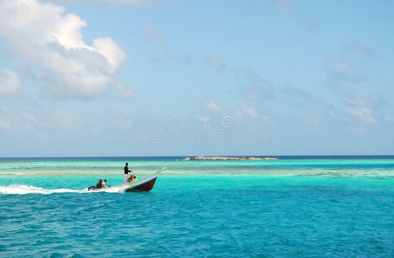 Fishermen go on fishing stock image