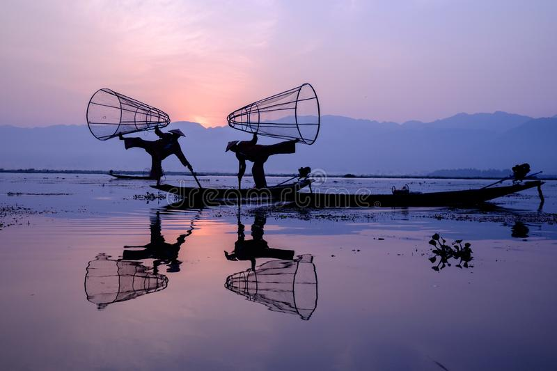 Fishermen at Inle Lake, Myanmar stock image