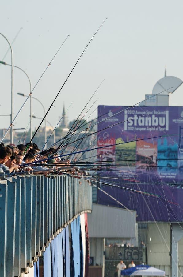 Fishermen - Istanbul, Turkey royalty free stock photography