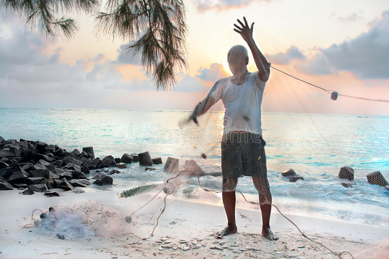 Download Fishermen With Net In The Early Morning Stock Image - Image: 13916687