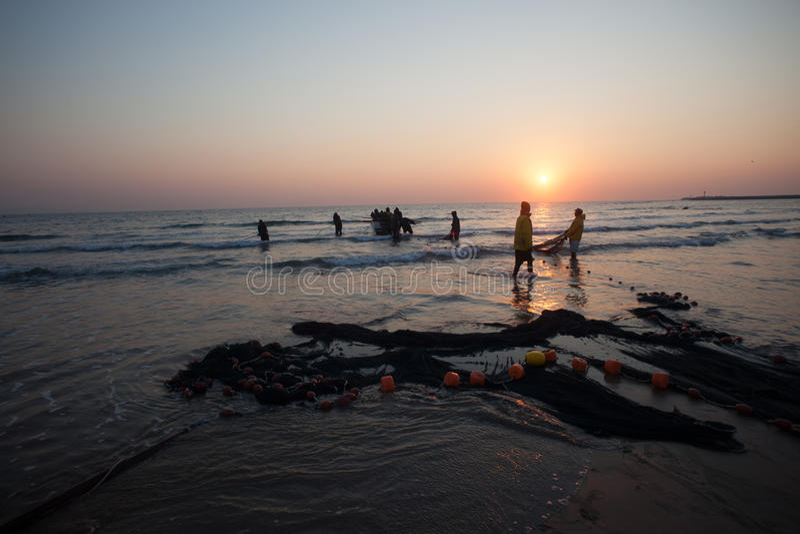 Download Fishermen Nets Beach Sunrise Editorial Image - Image: 31142165
