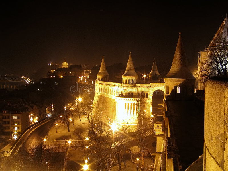 Fishermen's Bastion at night royalty free stock image