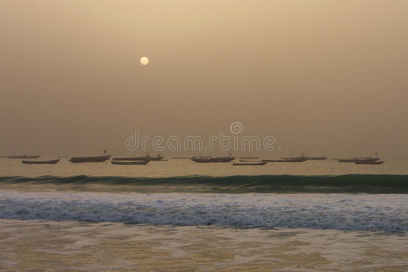 Fishermen's boats in the Nouakchott, Mauritania (at sunset) stock photography