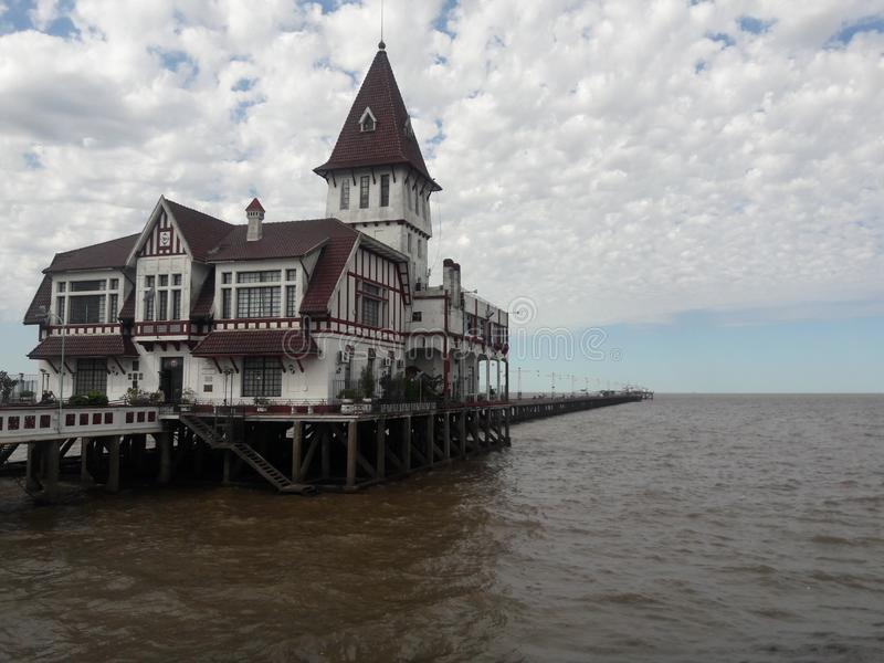 Fishermen's Club House on pier in Buenos Aires Argentina coast royalty free stock photos