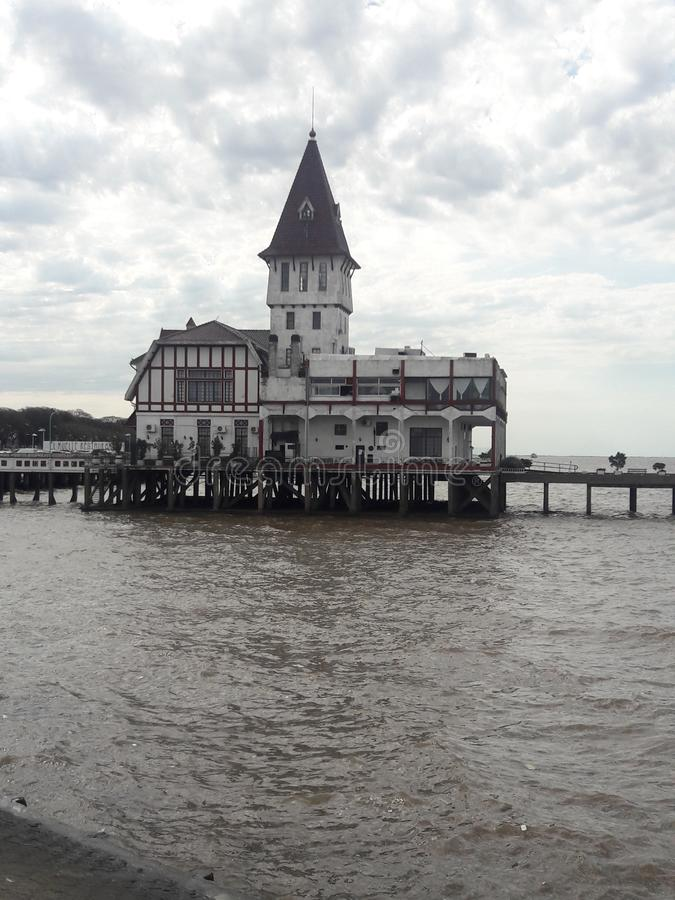 Fishermen's Club House on pier in Buenos Aires Argentina coast stock images