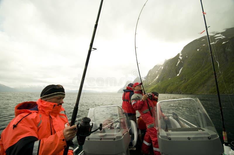 Fishermen at sea royalty free stock photos
