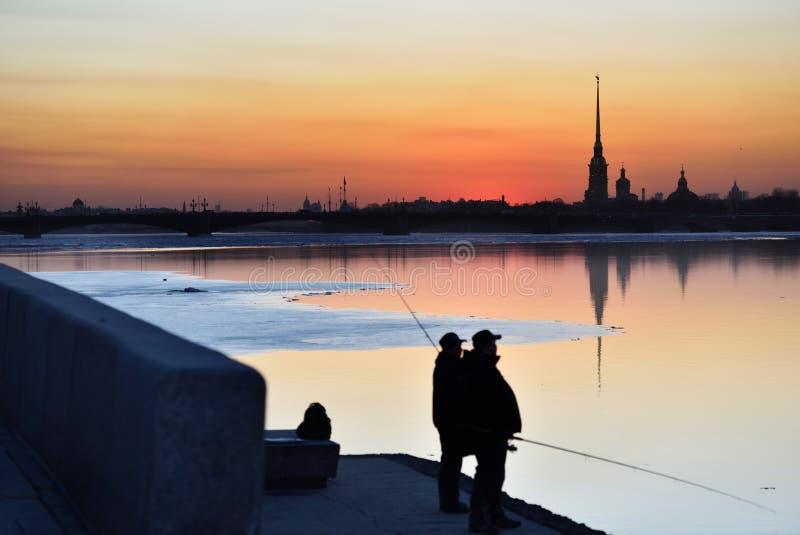 Fishermen in St. Petersburg, Russia stock photography