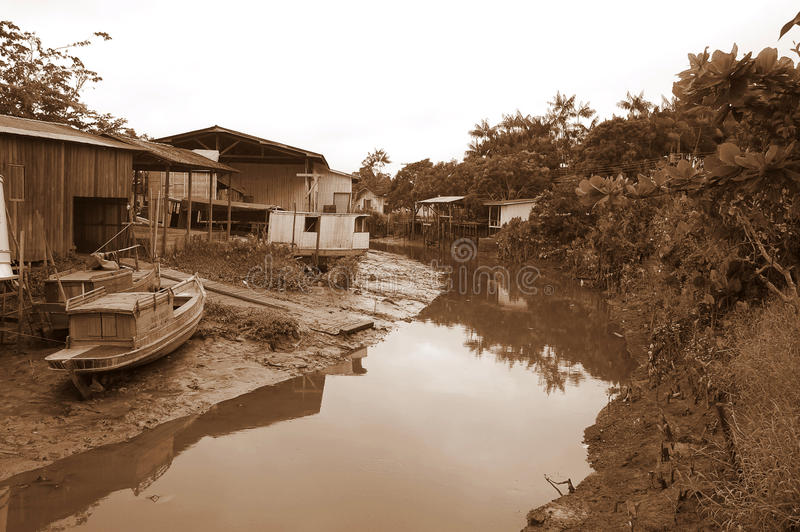 Fishermen Village in Amazon royalty free stock photos