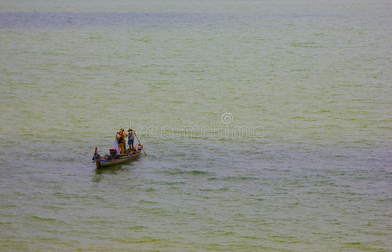 Fishermen At Work On A Boat Royalty Free Stock Images
