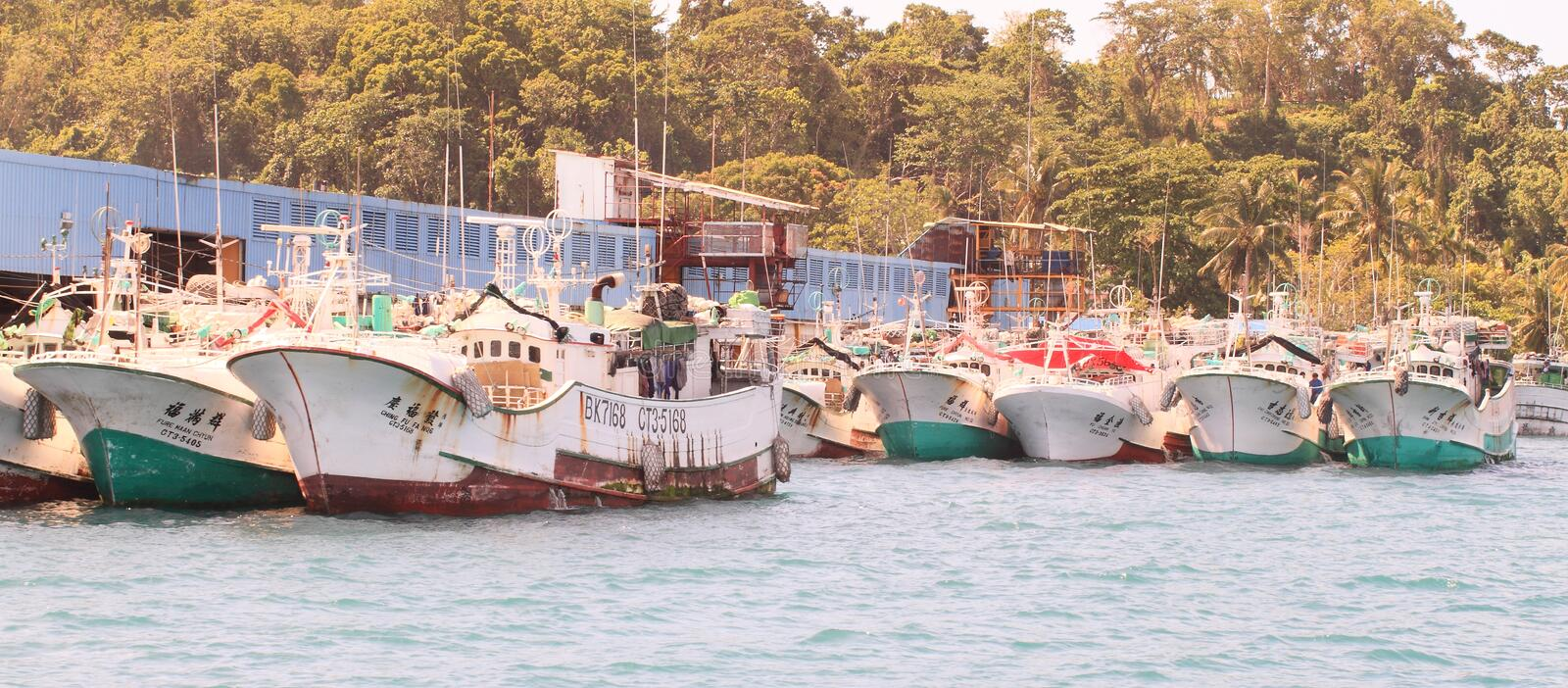 Fishers boats in Koror stock image