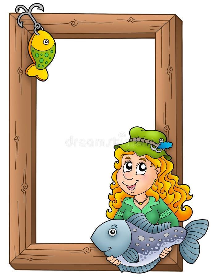 fisherwoman πλαίσιο ξύλινο ελεύθερη απεικόνιση δικαιώματος