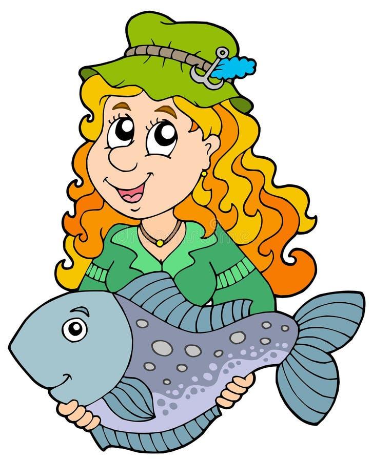 Fisherwoman que prende peixes grandes ilustração royalty free