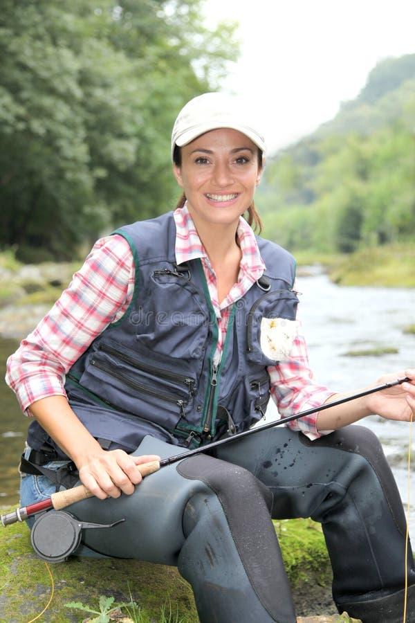 fisherwomanstående arkivbilder