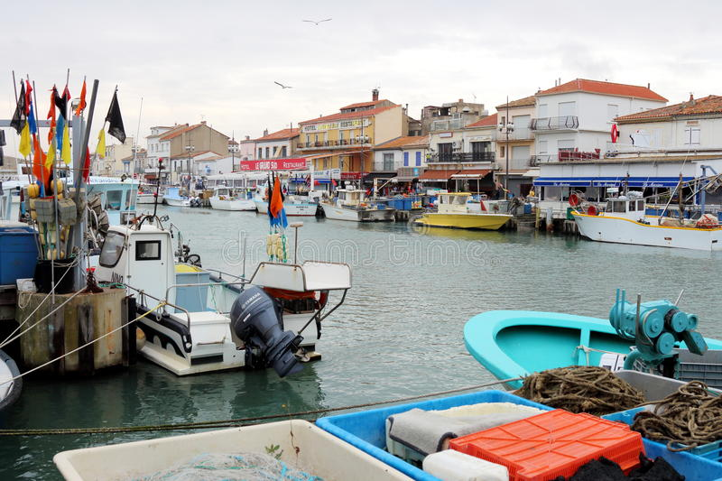 Fishery boats in Le Grau-du-Roi, Camargue, France stock images