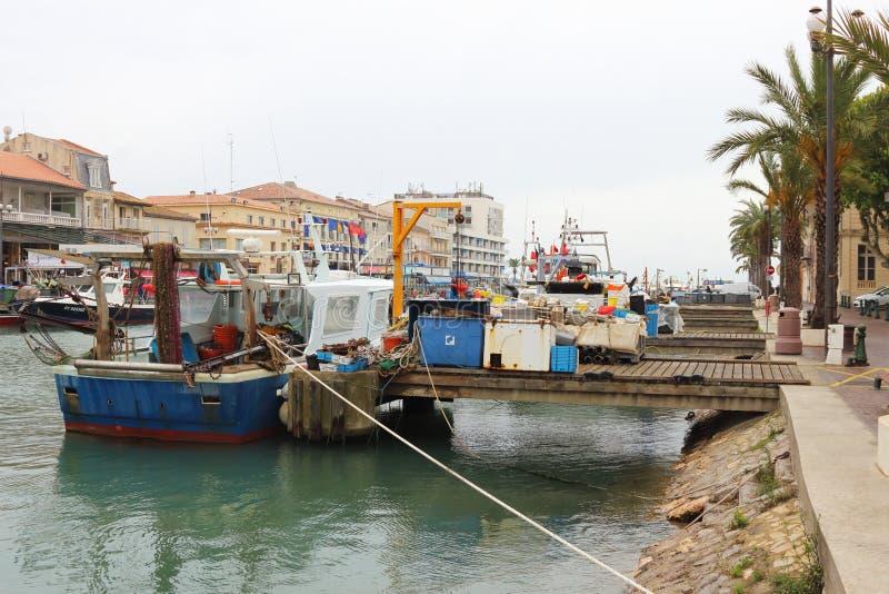 Fishery boats in Le Grau-du-Roi, France stock photos
