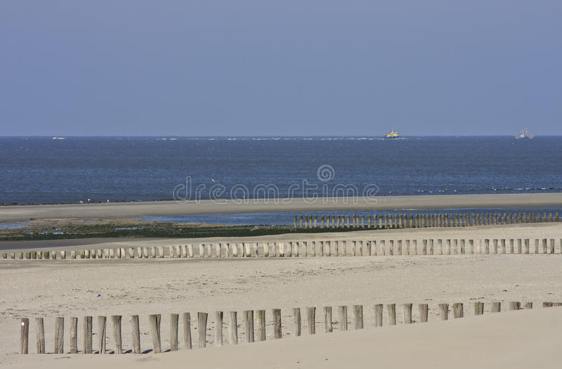 Fishery and shipping at Dutch Wadden Sea near Ameland stock images