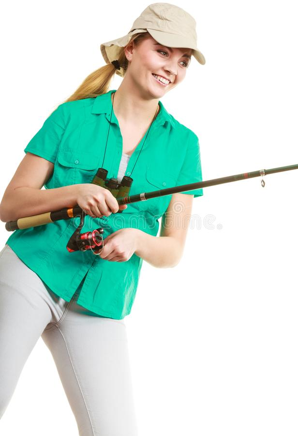 Woman with fishing rod, spinning equipment stock photos