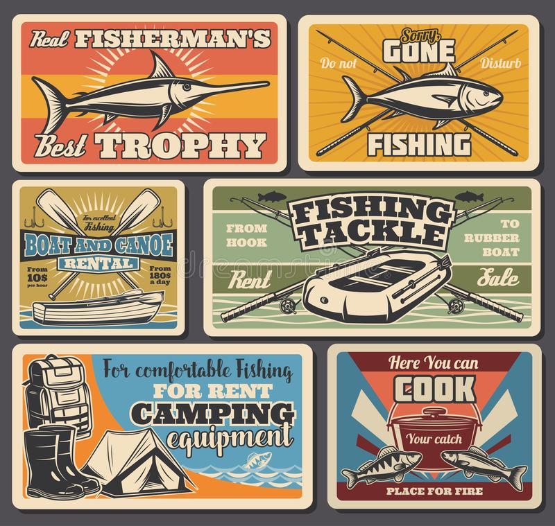 Fishery tools and equipment, fishing sport. Fishing equipment, sport and recreation, travel and camping. Vector marlin and salmon, rod and boot, oar and tackle royalty free illustration