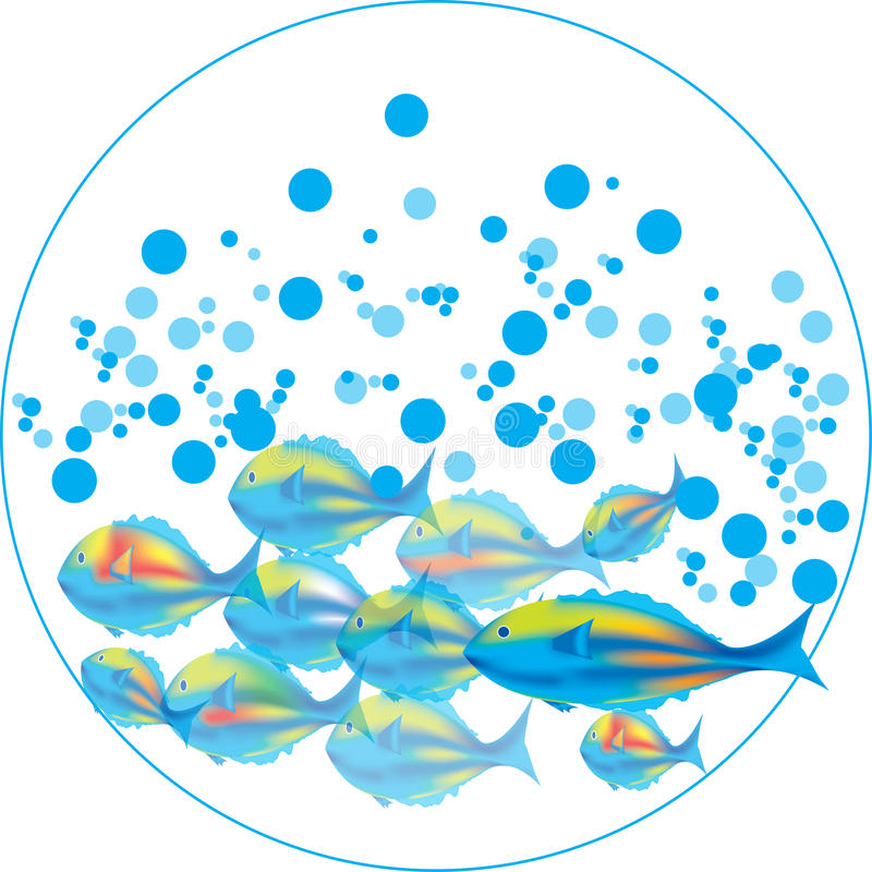 Fishes & blue bubbles royalty free illustration