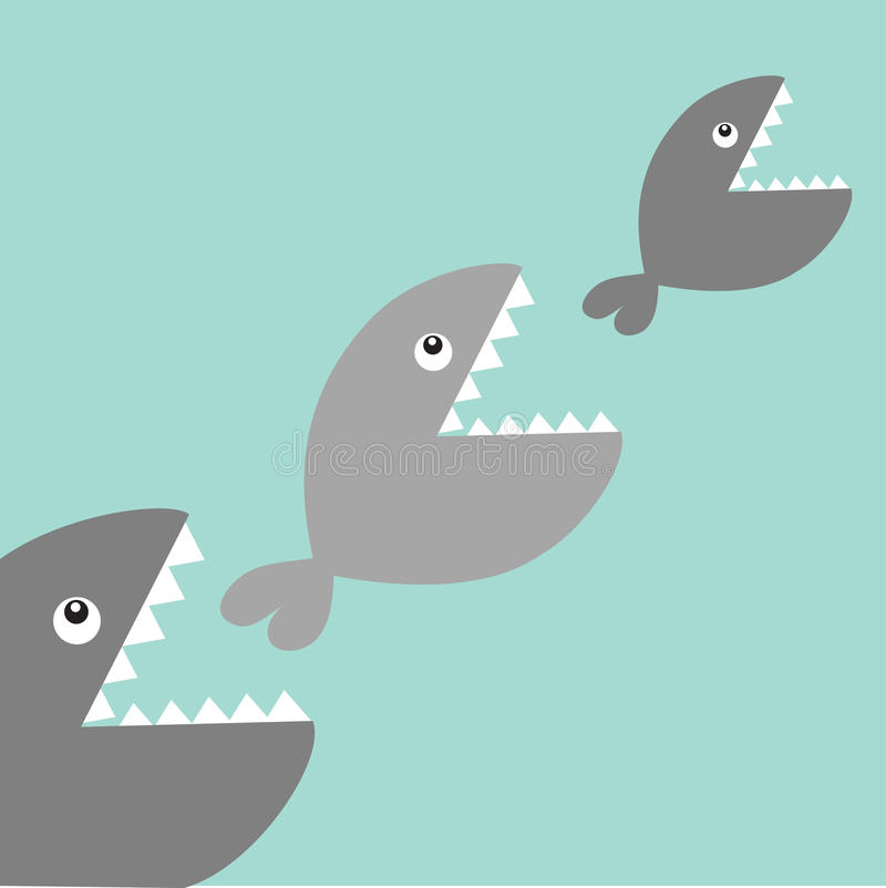 Fishes eating each other. Food chain. Cute cartoon gray fish character set. Baby kids collection. Blue water background. Isolated. Flat design. Vector vector illustration