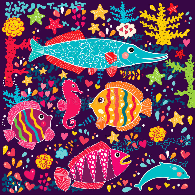 Fishes and marine life stock illustration