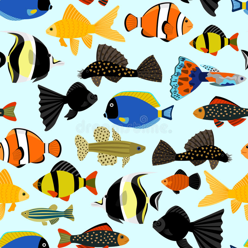 Fishes seamless pattern cute cartoon aquarium fish for Seamless fish tank
