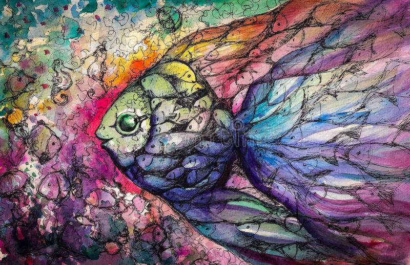 Fishes. Shoal of fish on the coral reef.Picture created with watercolors