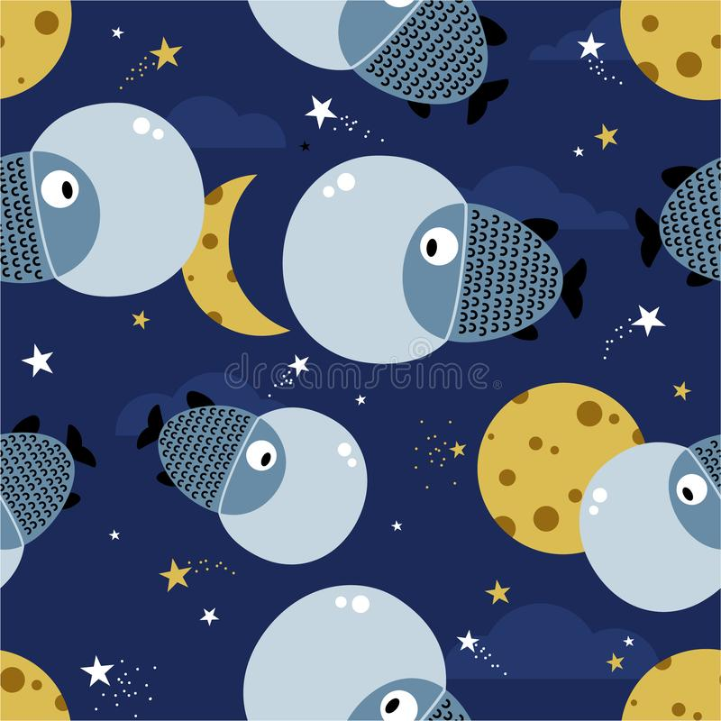 Fishes, stars and moon, colorful cute seamless pattern vector illustration