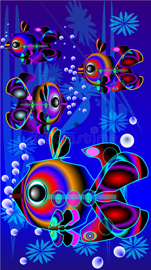 Fishes under water vector illustration