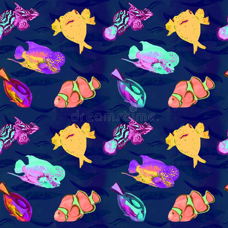 Fishes variety, hand painted watercolor illustration, seamless pattern on dark blue ocean surface with waves background. Flowerhorn cichlid fish, Pufferfish stock illustration