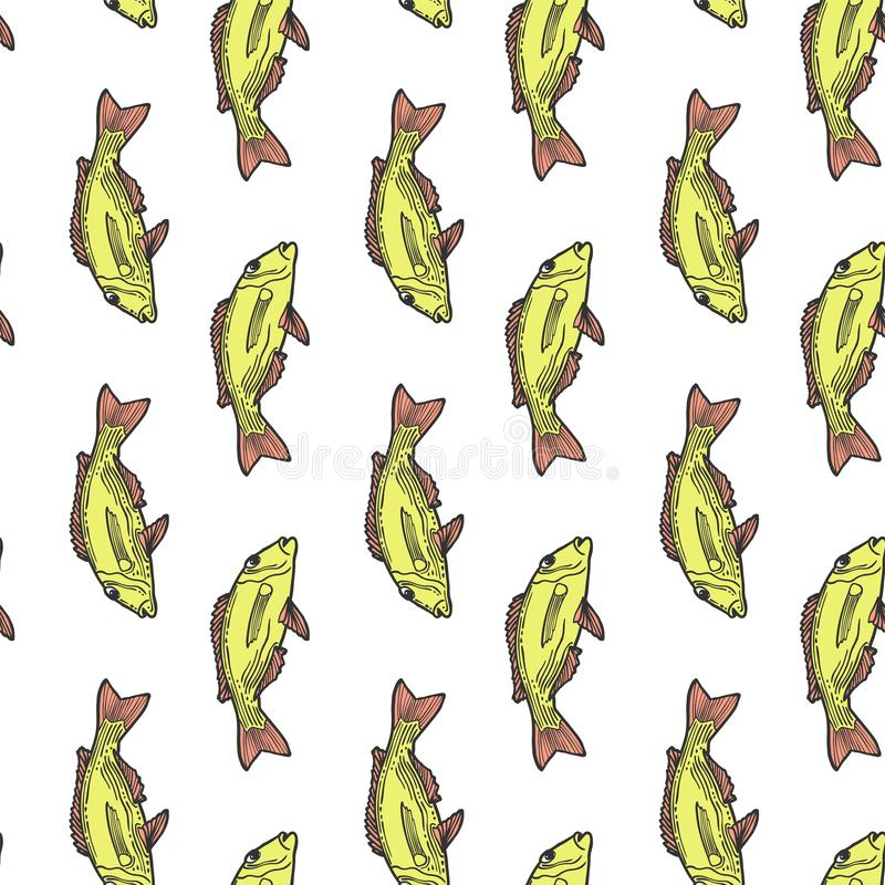 Fishes. Vector concept in doodle and sketch style. Hand drawn illustration for printing on T-shirts, postcards. Seamless pattern. For textile, paper wrap stock illustration