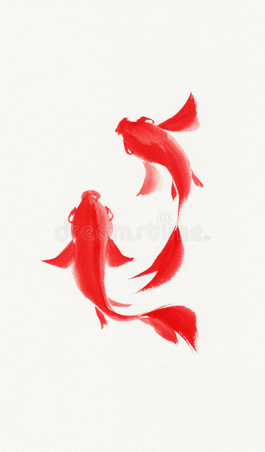 Fishes watercolor painting stock illustration