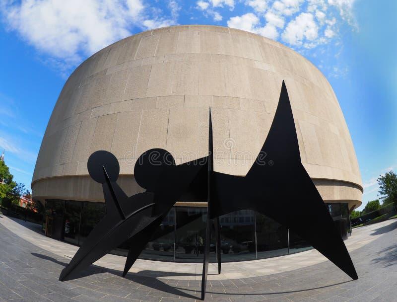 Fishey wizerunek Calder rzeźba przy Hirshhorn w DC obrazy royalty free