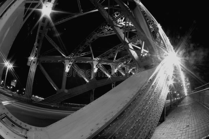 Fisheye-Ansicht über Bolsheokhtinsky-Brücke über Neva River in St Petersburg in der Nachtbeleuchtung lizenzfreie stockbilder