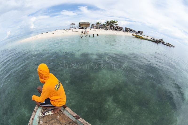Fisheye-Ansicht von Insel Gusungan Sipadan gelegen bei Semporna, NBH lizenzfreie stockfotografie