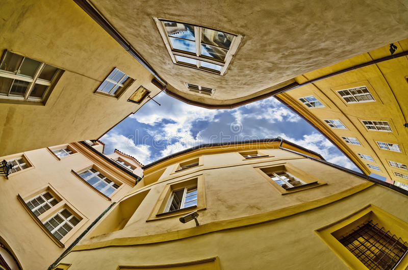 Download Fisheye Lens Look Of The Old Town On Sky Background . Prague Stock Photo - Image of facade, locations: 39893618